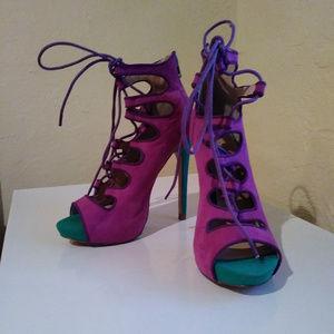 Liliana Two Tone Sexy Stiletto Lace-Up Heels